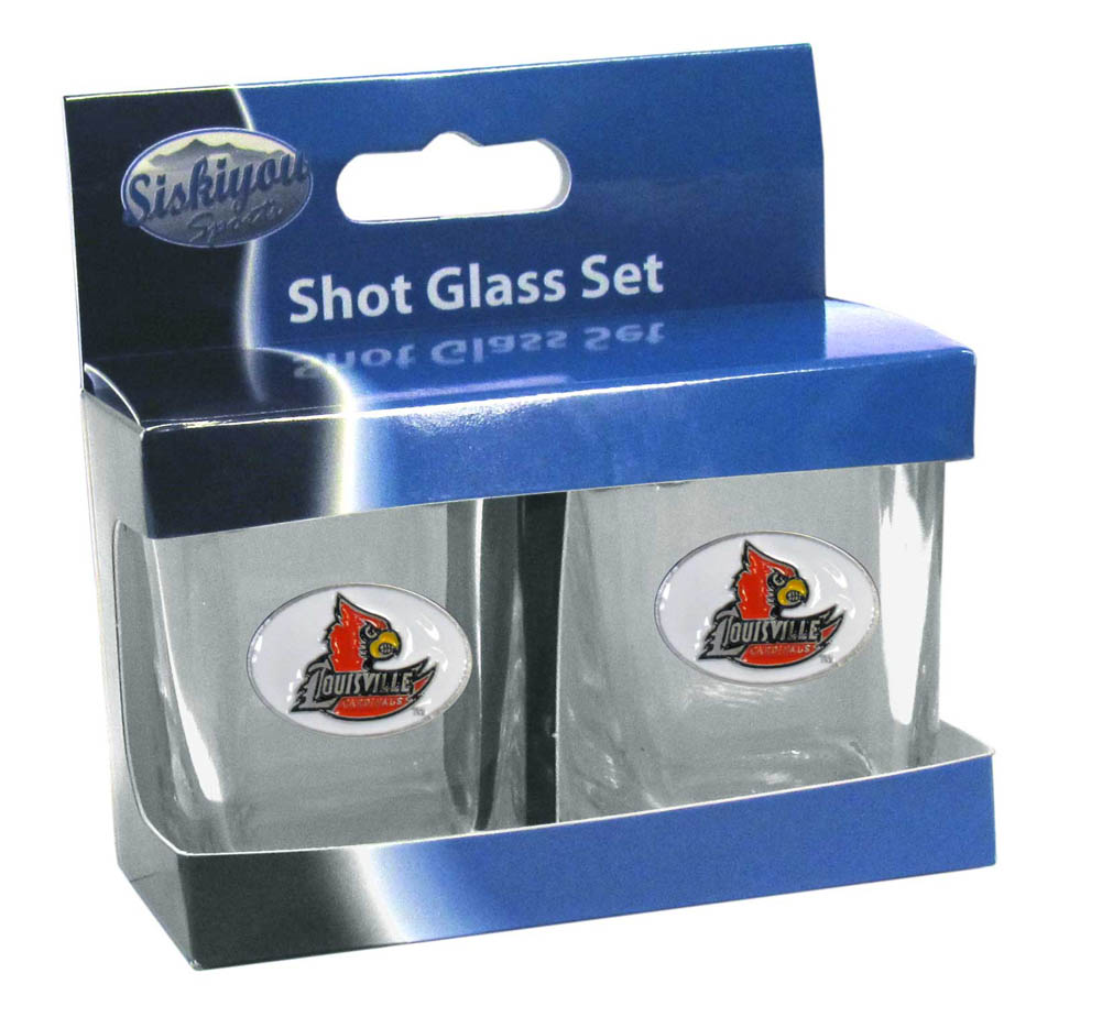Louisville Cardinals Shot Glass Set - This is the perfect gift for any devoted Louisville Cardinals fan! Set of 2 glasses, 2oz capacity, with school logos on each glass. Perfect for tailgating or game day gatherings