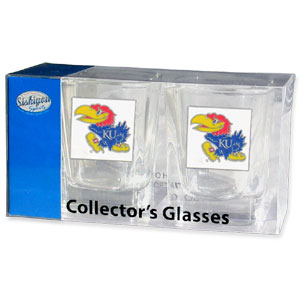 Collegiate Collector's Glass Set - Kansas Jayhawks - Kansas Jayhawks collegiate collector's glass sets are a perfect way to show your school pride! The set includes 2 square shot glasses each with a Kansas Jayhawks metal helmet piece. Thank you for shopping with CrazedOutSports.com