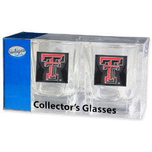 Collegiate Collector's Glass Set - Texas Tech Raiders - Our collegiate collector's glass sets are a perfect way to show your school pride! The set includes 2 square shot glasses each with a Texas Tech Raiders metal helmet piece. Thank you for shopping with CrazedOutSports.com