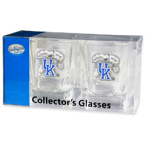 Collegiate Collector's Glass Set - Kentucky Wildcats - Our collegiate collector's glass sets are a perfect way to show your school pride! The set includes 2 square shot glasses each with a Kentucky Wildcats metal helmet piece. Thank you for shopping with CrazedOutSports.com