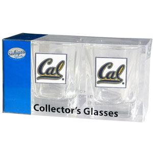 Collegiate Collector's Glass Set - Cal Berkeley Bears  - Our collegiate collector's glass sets are a perfect way to show your Cal Berkeley Bears pride! The set includes 2 square shot glasses each with a Cal Berkeley metal helmet piece. Thank you for shopping with CrazedOutSports.com