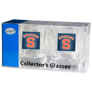 Collegiate Collector's Glass Set - Syracuse Orange - Our collegiate collector's glass sets are a perfect way to show your school pride! The set includes 2 square shot glasses each with a Syracuse Orange metal helmet piece. Thank you for shopping with CrazedOutSports.com