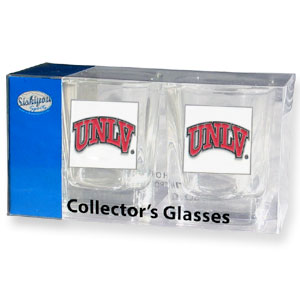 Collegiate Collector's Glass Set - UNLV Rebels - Our collegiate collector's glass sets are a perfect way to show your school pride! The set includes 2 square shot glasses each with a UNLV Rebels metal helmet piece. Thank you for shopping with CrazedOutSports.com
