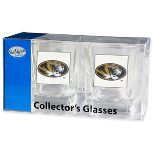 Collegiate Collector's Glass Set - Missouri Tigers - Our collegiate collector's glass sets are a perfect way to show your school pride! The set includes 2 square shot glasses each with a Missouri Tigers metal helmet piece. Thank you for shopping with CrazedOutSports.com