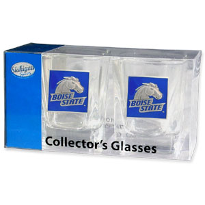 Collegiate Collector's Glass Set - Boise St. Broncos - Our collegiate collector's glass sets are a perfect way to show your school pride! The set includes 2 square shot glasses each with a Boise St. Broncos metal helmet piece. Thank you for shopping with CrazedOutSports.com