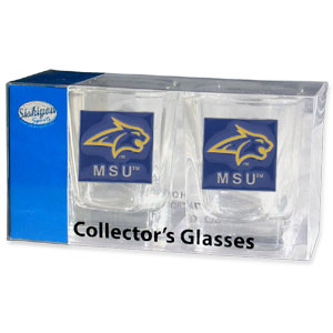 Collegiate Collector's Glass Set - Montana St. Bobcats - Our collegiate collector's glass sets are a perfect way to show your school pride! The set includes 2 square shot glasses each with a Montana St. Bobcats metal helmet piece. Thank you for shopping with CrazedOutSports.com
