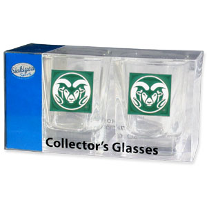 Collegiate Collector's Glass Set - Colorada St. Rams - Our collegiate collector's glass sets are a perfect way to show your Colorado State Rams school pride! The set includes 2 square shot glasses each with a Colorada St. Rams metal helmet piece. Thank you for shopping with CrazedOutSports.com