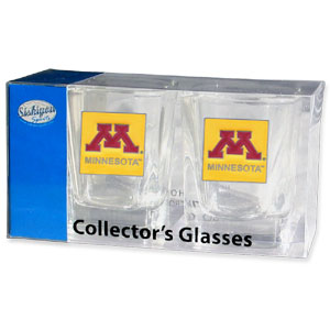 Minnesota Golden Golphers Collegiate Collector's Glass Set - Minnesota Golden Golphers Collegiate Collector's Glass Set is a perfect way to show your school pride! The Minnesota Golden Golphers Collegiate Collector's Glass Set includes 2 square shot glasses each with a Minnesota Golden Golphers metal helmet piece. Thank you for shopping with CrazedOutSports.com