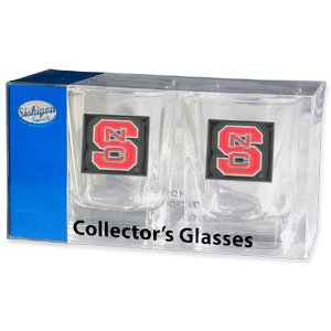 Collegiate Collector's Glass Set - N. Carolina St. Wolfpack - Our collegiate collector's glass sets are a perfect way to show your school pride! The set includes 2 square shot glasses each with a N. Carolina St. Wolfpack metal helmet piece. Thank you for shopping with CrazedOutSports.com