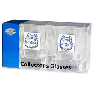 Collegiate Collector's Glass Set - UCONN Huskies - Our collegiate collector's glass sets are a perfect way to show your school pride! The set includes 2 square shot glasses each with a UCONN Huskies metal helmet piece. Thank you for shopping with CrazedOutSports.com