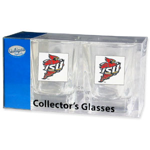 Collegiate Collector's Glass Set - Iowa St. Cyclones - Iowa St. Cyclones collegiate collector's glass sets are a perfect way to show your school pride! The set includes 2 square shot glasses each with a Iowa St. Cyclones metal helmet piece. Thank you for shopping with CrazedOutSports.com