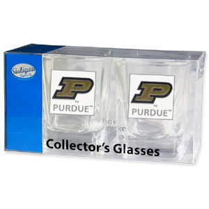 Collegiate Collector's Glass Set - Purdue Boilermakers - Our collegiate collector's glass sets are a perfect way to show your school pride! The set includes 2 square shot glasses each with a Purdue Boilermakers metal helmet piece. Thank you for shopping with CrazedOutSports.com