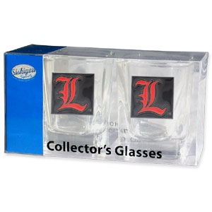 Collegiate Collector's Glass Set - Louisville Cardinals - Louisville Cardinals collector's glass sets are a perfect way to show your school pride! The Louisville Cardinals Collector's Glass Set includes 2 square shot glasses each with a Louisville Cardinals metal helmet piece. Thank you for shopping with CrazedOutSports.com