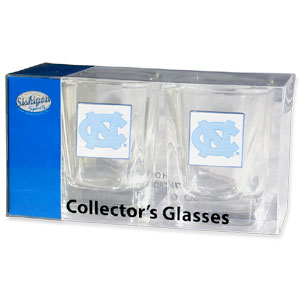 Collegiate Collector's Glass Set - N. Carolina Tar Heels - Our collegiate collector's glass sets are a perfect way to show your school pride! The set includes 2 square shot glasses each with a N. Carolina Tar Heels metal helmet piece. Thank you for shopping with CrazedOutSports.com