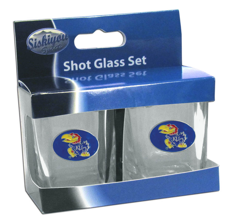 Kansas Jayhawks Shot Glass Set - This is the perfect gift for any devoted Kansas Jayhawks fan! Set of 2 glasses, 2oz capacity, with school logos on each glass. Perfect for tailgating or game day gatherings