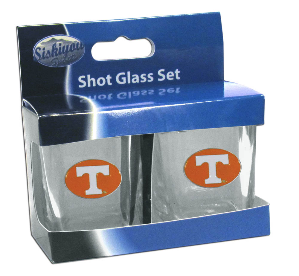 Tennessee Volunteers Shot Glass Set - This is the perfect gift for any devoted Tennessee Volunteers fan! Set of 2 glasses, 2oz capacity, with school logos on each glass. Perfect for tailgating or game day gatherings