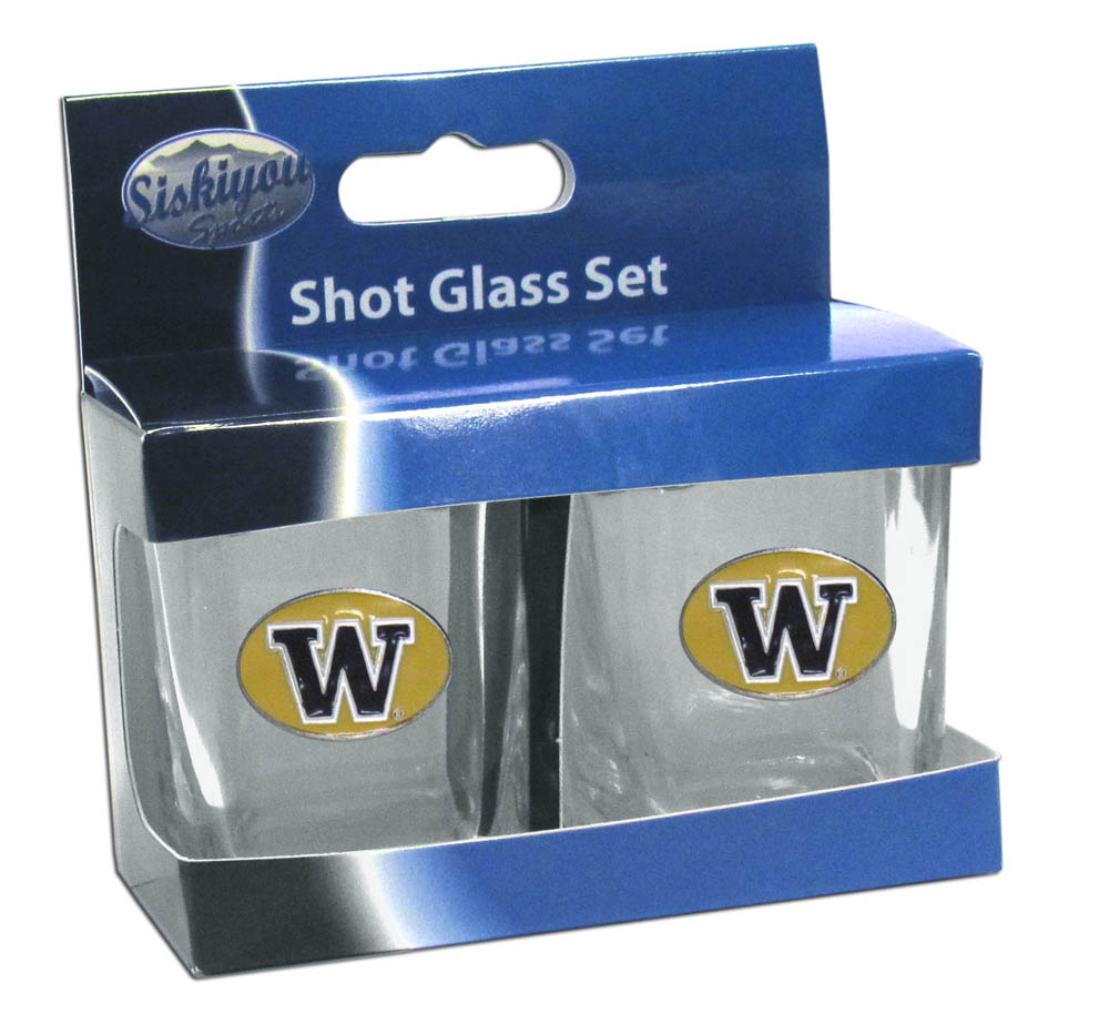 Washington Huskies Shot Glass Set - This is the perfect gift for any devoted Washington Huskies fan! Set of 2 glasses, 2oz capacity, with school logos on each glass. Perfect for tailgating or game day gatherings