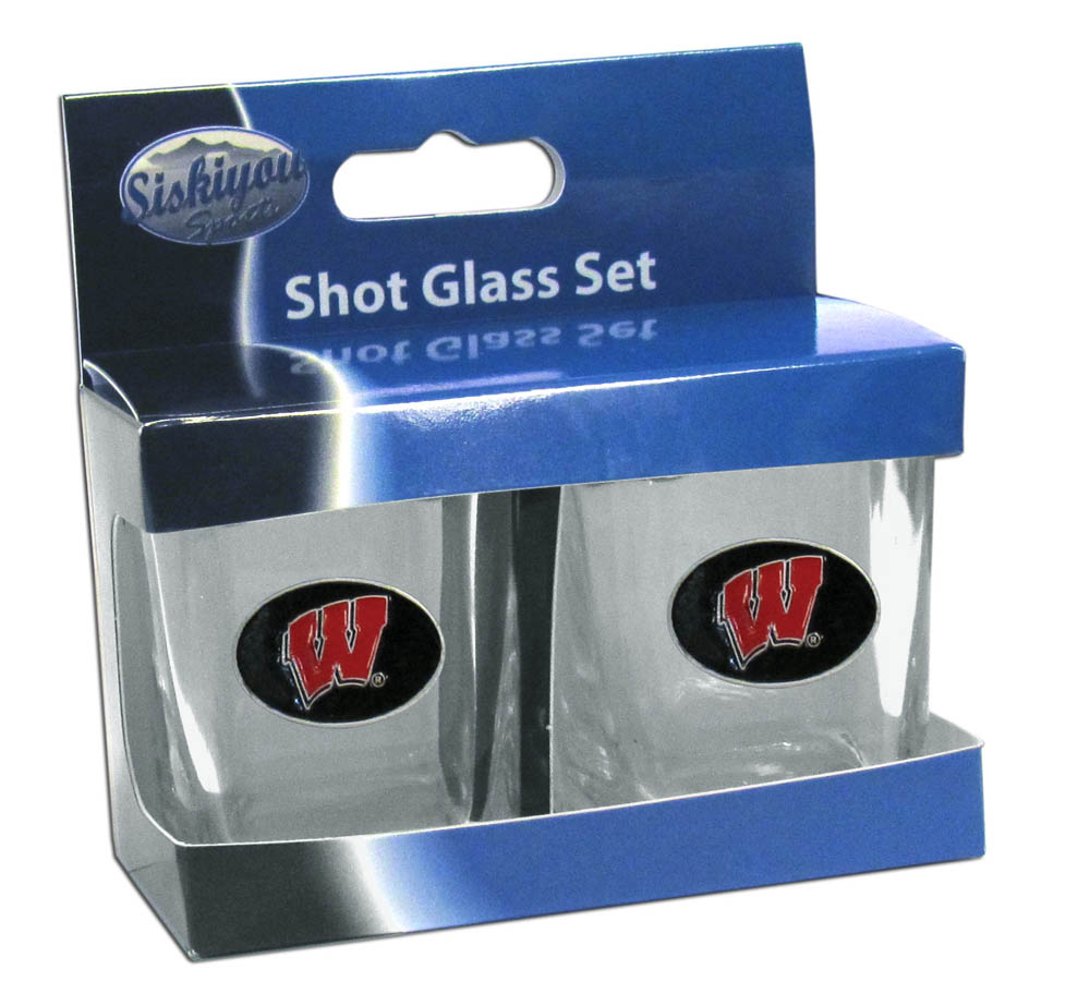 Wisconsin Badgers Shot Glass Set - This is the perfect gift for any devoted Wisconsin Badgers fan! Set of 2 glasses, 2oz capacity, with school logos on each glass. Perfect for tailgating or game day gatherings