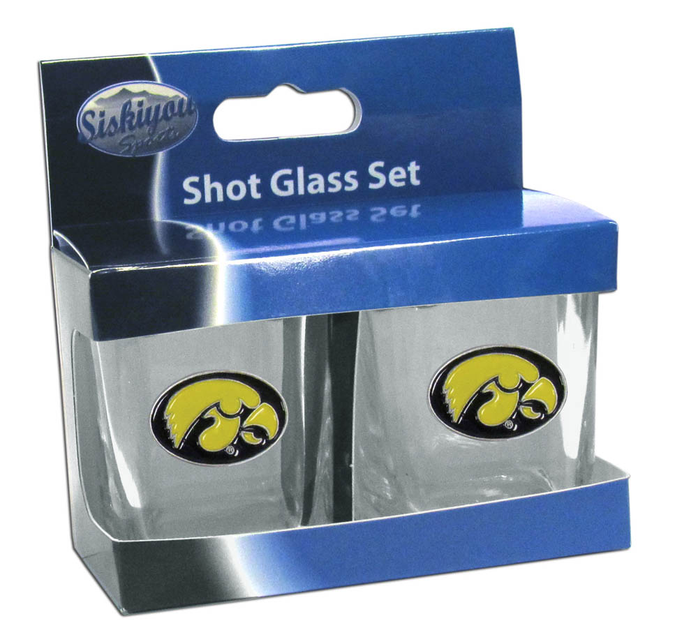 Iowa Hawkeyes Shot Glass Set - This is the perfect gift for any devoted Iowa Hawkeyes fan! Set of 2 glasses, 2oz capacity, with school logos on each glass. Perfect for tailgating or game day gatherings