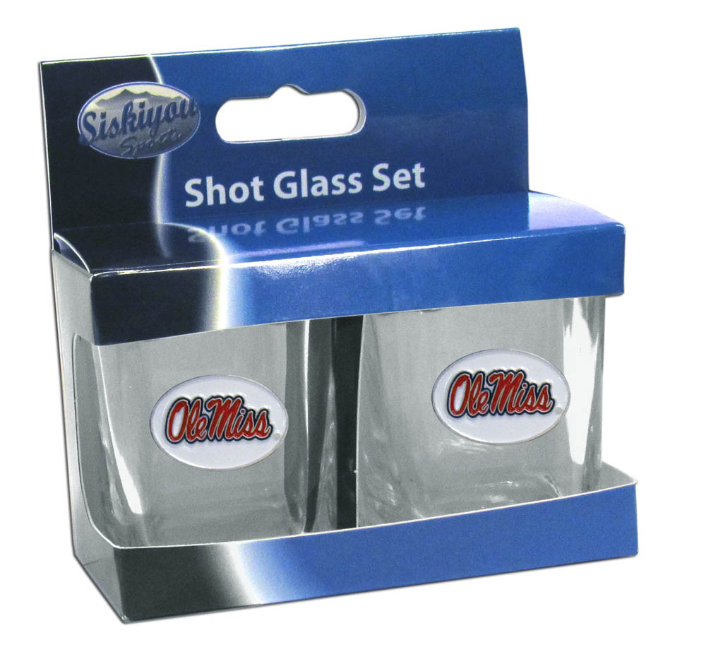 Mississippi Rebels Shot Glass Set - This is the perfect gift for any devoted Mississippi Rebels fan! Set of 2 glasses, 2oz capacity, with school logos on each glass. Perfect for tailgating or game day gatherings