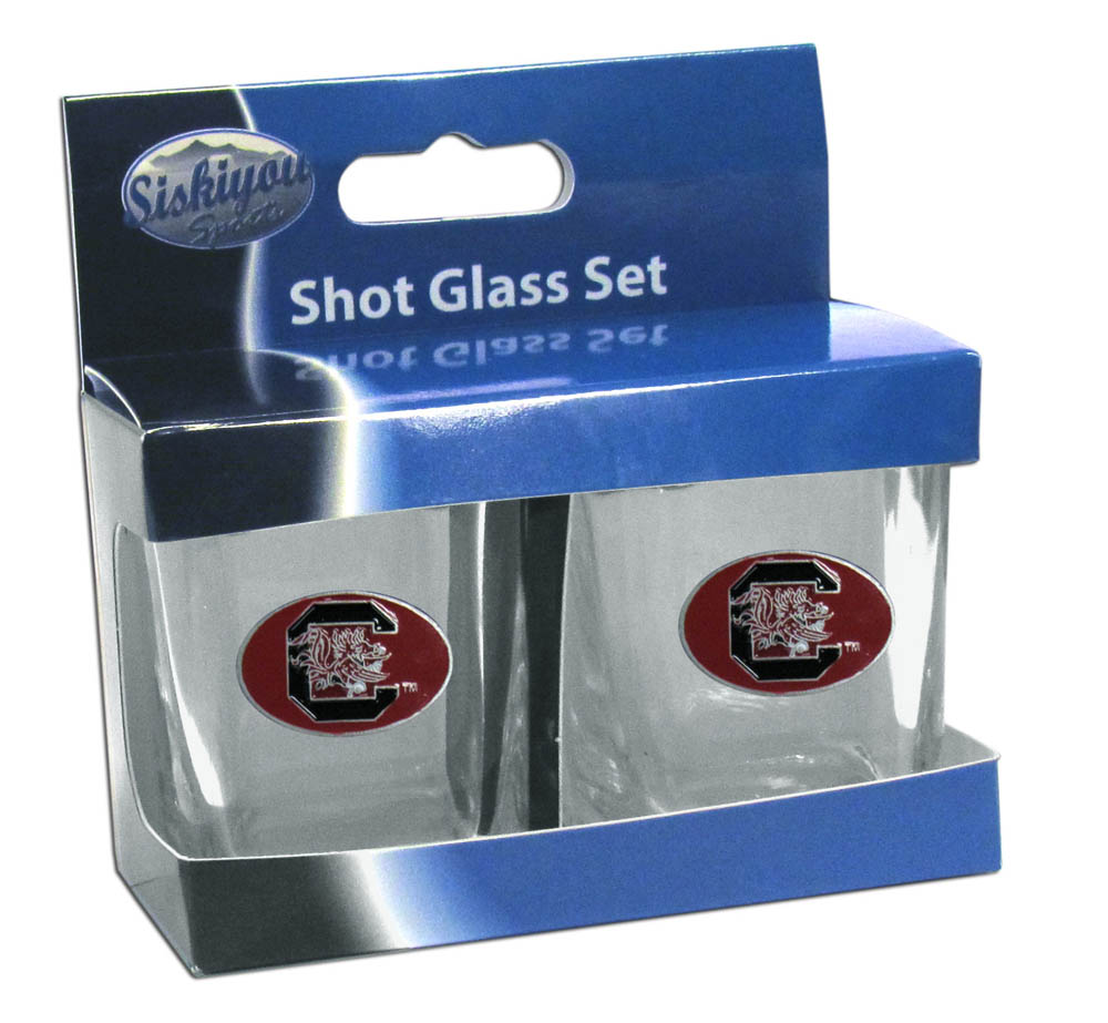 S. Carolina Gamecocks Shot Glass Set - This is the perfect gift for any devoted S. Carolina Gamecocks fan! Set of 2 glasses, 2oz capacity, with school logos on each glass. Perfect for tailgating or game day gatherings