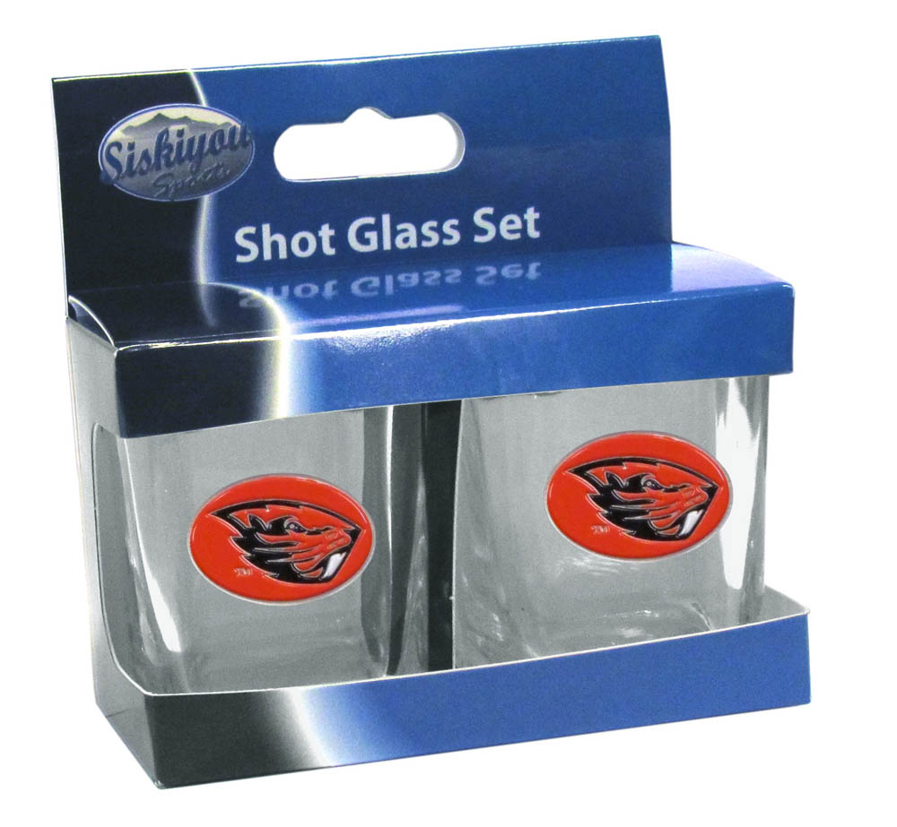 Oregon St. Beavers Shot Glass Set - This is the perfect gift for any devoted Oregon St. Beavers fan! Set of 2 glasses, 2oz capacity, with school logos on each glass. Perfect for tailgating or game day gatherings