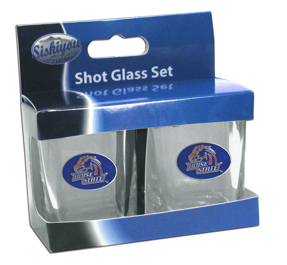 Boise St. Broncos Shot Glass Set - This is the perfect gift for any devoted Boise St. Broncos fan! Set of 2 glasses, 2oz capacity, with school logos on each glass. Perfect for tailgating or game day gatherings