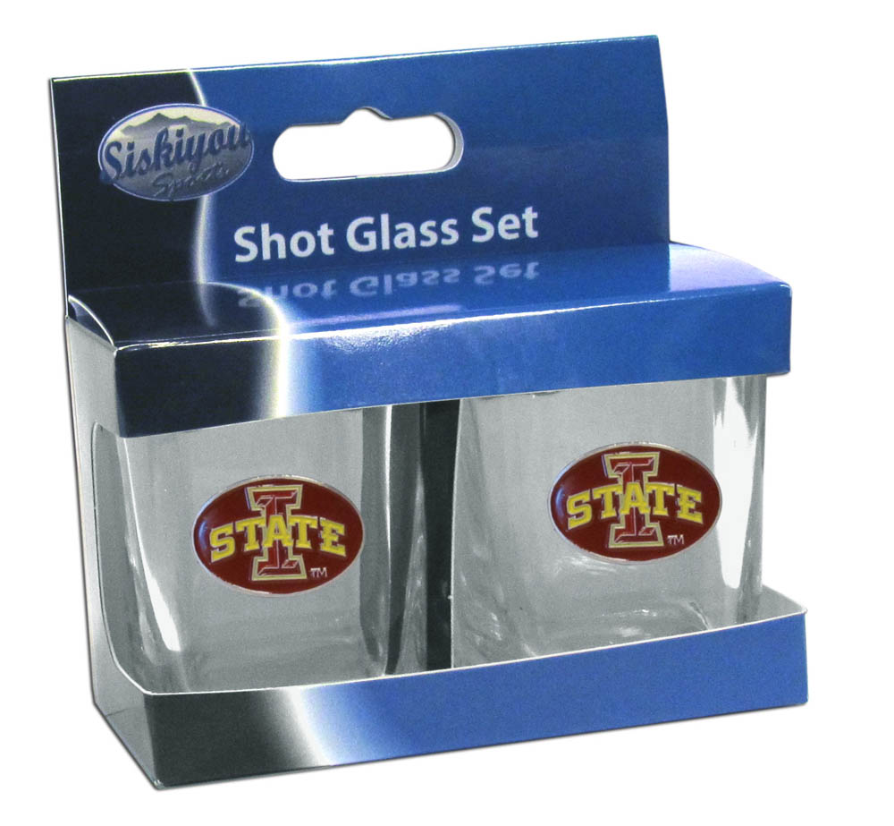 Iowa St. Cyclones Shot Glass Set - This is the perfect gift for any devoted Iowa St. Cyclones fan! Set of 2 glasses, 2oz capacity, with school logos on each glass. Perfect for tailgating or game day gatherings