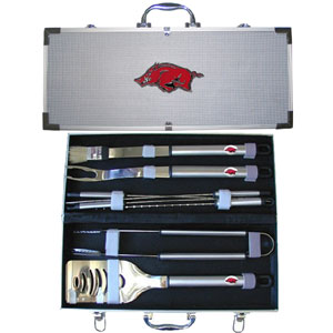 "College 8 pc BBQ Set - Arkansas Razorbacks - Our Arkansas Razorbacks collegiate 8 pc BBQ set includes a spatula with knife edge, grill fork, tongs, basting brush and 4 skewers. The tools are approximately 19"" long and have sturdy stainless steel handles. The aluminum carrying case features a metal carved Arkansas Razorbacks emblem with enameled finish. Thank you for shopping with CrazedOutSports.com"