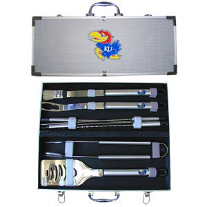 "College 8 pc BBQ Set - Kansas Jayhawks - This Kansas Jayhawks collegiate 8 pc BBQ set includes a spatula with knife edge, grill fork, tongs, basting brush and 4 skewers. The tools are approximately 19"" long and have sturdy stainless steel handles. The aluminum carrying case features a metal carved emblem with enameled finish. Thank you for shopping with CrazedOutSports.com"
