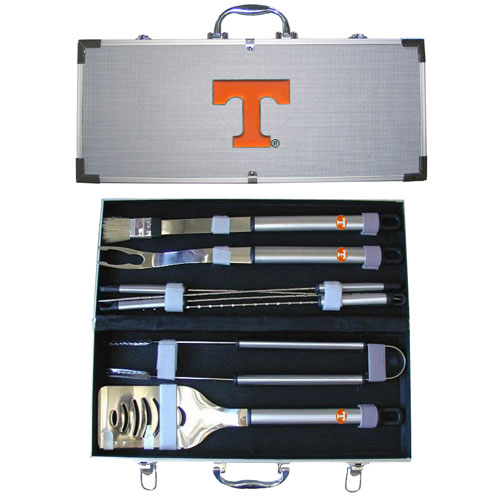 "College 8 pc BBQ Set - Tennessee Volunteers - Our collegiate 8 pc BBQ set includes a spatula with knife edge, grill fork, tongs, basting brush and 4 skewers. The tools are approximately 19"" long and have sturdy stainless steel handles. The aluminum carrying case features a metal carved emblem with enameled finish. Thank you for shopping with CrazedOutSports.com"