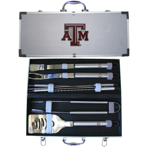 "College 8 pc BBQ Set - Texas A and M Aggies - Our collegiate 8 pc BBQ set includes a spatula with knife edge, grill fork, tongs, basting brush and 4 skewers. The tools are approximately 19"" long and have sturdy stainless steel handles. The aluminum carrying case features a metal carved emblem with enameled finish. Thank you for shopping with CrazedOutSports.com"