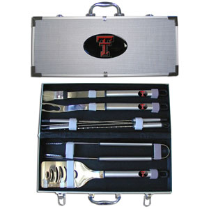"College 8 pc BBQ Set - Texas Tech Raiders - Our collegiate 8 pc BBQ set includes a spatula with knife edge, grill fork, tongs, basting brush and 4 skewers. The tools are approximately 19"" long and have sturdy stainless steel handles. The aluminum carrying case features a metal carved emblem with enameled finish. Thank you for shopping with CrazedOutSports.com"
