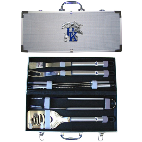 "College 8 pc BBQ Set - Kentucky Wildcats - Our collegiate 8 pc BBQ set includes a spatula with knife edge, grill fork, tongs, basting brush and 4 skewers. The tools are approximately 19"" long and have sturdy stainless steel handles. The aluminum carrying case features a metal carved emblem with enameled finish. Thank you for shopping with CrazedOutSports.com"