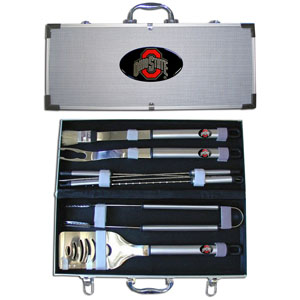 "College 8 pc BBQ Set - Ohio St. Buckeyes - Our collegiate 8 pc BBQ set includes a spatula with knife edge, grill fork, tongs, basting brush and 4 skewers. The tools are approximately 19"" long and have sturdy stainless steel handles. The aluminum carrying case features a metal carved emblem with enameled finish. Thank you for shopping with CrazedOutSports.com"