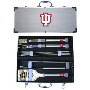 "College 8 pc BBQ Set - Indiana Hoosiers - This collegiate Indiana Hoosiers 8 pc BBQ set includes a spatula with knife edge, grill fork, tongs, basting brush and 4 skewers. The tools are approximately 19"" long and have sturdy stainless steel handles. The aluminum carrying case features a metal carved emblem with enameled finish. Thank you for shopping with CrazedOutSports.com"