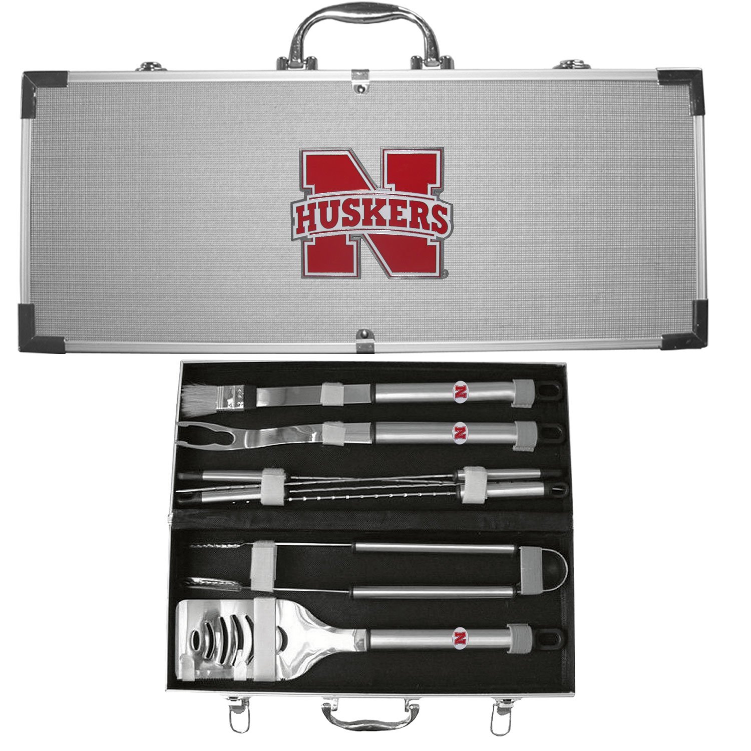 "College 8 pc BBQ Set - Nebraska Cornhuskers - Our collegiate 8 pc BBQ set includes a spatula with knife edge, grill fork, tongs, basting brush and 4 skewers. The tools are approximately 19"" long and have sturdy stainless steel handles. The aluminum carrying case features a metal carved emblem with enameled finish. Thank you for shopping with CrazedOutSports.com"