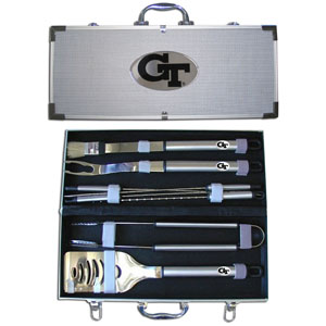 "College 8 pc BBQ Set - Georgia Tech Yellow Jackets - Our collegiate Georgia Tech Yellow Jackets 8 pc BBQ set includes a spatula with knife edge, grill fork, tongs, basting brush and 4 skewers. The tools are approximately 19"" long and have sturdy stainless steel handles. The aluminum carrying case features a metal carved emblem with enameled finish. Thank you for shopping with CrazedOutSports.com"