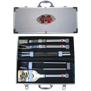 "College 8 pc BBQ Set - Mississippi St. Bulldogs - Our collegiate 8 pc BBQ set includes a spatula with knife edge, grill fork, tongs, basting brush and 4 skewers. The tools are approximately 19"" long and have sturdy stainless steel handles. The aluminum carrying case features a metal carved emblem with enameled finish. Thank you for shopping with CrazedOutSports.com"