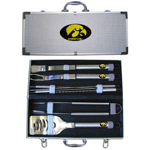 "College 8 pc BBQ Set - Iowa Hawkeyes - This collegiate Iowa Hawkeyes 8 pc BBQ set includes a spatula with knife edge, grill fork, tongs, basting brush and 4 skewers. The tools are approximately 19"" long and have sturdy stainless steel handles. The aluminum carrying case features a metal carved emblem with enameled finish. Thank you for shopping with CrazedOutSports.com"