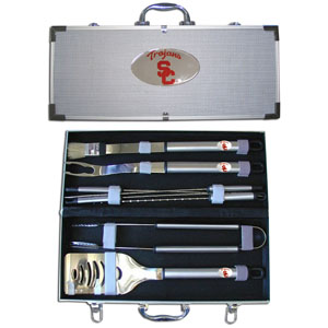 "College 8 pc BBQ Set - USC Trojans - Our collegiate 8 pc BBQ set includes a spatula with knife edge, grill fork, tongs, basting brush and 4 skewers. The tools are approximately 19"" long and have sturdy stainless steel handles. The aluminum carrying case features a metal carved emblem with enameled finish. Thank you for shopping with CrazedOutSports.com"
