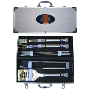 "College 8 pc BBQ Set - Illinois Fighting Illini - This Illinois Fighting Illini collegiate 8 pc BBQ set includes a spatula with knife edge, grill fork, tongs, basting brush and 4 skewers. The tools are approximately 19"" long and have sturdy stainless steel handles. The aluminum carrying case features a metal carved emblem with enameled finish. Thank you for shopping with CrazedOutSports.com"