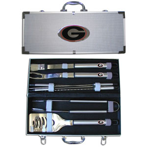 "College 8 pc BBQ Set - Georgia Bulldogs - Our Georgia Bulldogs 8 pc BBQ set includes a spatula with knife edge, grill fork, tongs, basting brush and 4 skewers. The tools are approximately 19"" long and have sturdy stainless steel handles. The aluminum carrying case features a metal carved Georgia Bulldogs emblem with enameled finish. Thank you for shopping with CrazedOutSports.com"