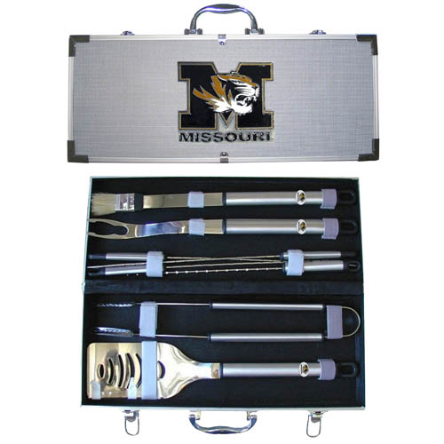 "College 8 pc BBQ Set - Missouri Tigers - Our collegiate 8 pc BBQ set includes a spatula with knife edge, grill fork, tongs, basting brush and 4 skewers. The tools are approximately 19"" long and have sturdy stainless steel handles. The aluminum carrying case features a metal carved emblem with enameled finish. Thank you for shopping with CrazedOutSports.com"