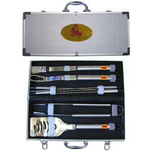"College 8 pc BBQ Set - Arizona St. Sun Devils - Our Arizona State Sun Devils collegiate 8 pc BBQ set includes a spatula with knife edge, grill fork, tongs, basting brush and 4 skewers. The tools are approximately 19"" long and have sturdy stainless steel handles. The aluminum carrying case features a metal carved emblem with enameled finish. Thank you for shopping with CrazedOutSports.com"