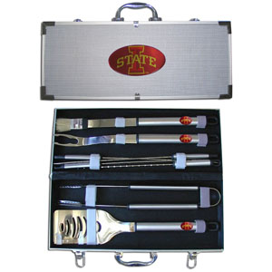 "College 8 pc BBQ Set - Iowa St. Cyclones - This Iowa St. Cyclones collegiate 8 pc BBQ set includes a spatula with knife edge, grill fork, tongs, basting brush and 4 skewers. The tools are approximately 19"" long and have sturdy stainless steel handles. The aluminum carrying case features a metal carved emblem with enameled finish. Thank you for shopping with CrazedOutSports.com"