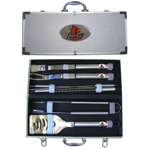 "College 8 pc BBQ Set - Louisville Cardinals - Louisville Cardinals collegiate 8 pc BBQ set includes a spatula with knife edge, grill fork, tongs, basting brush and 4 skewers. The College 8 pc BBQ Set - Louisville Cardinals tools are approximately 19"" long and have sturdy stainless steel handles. The aluminum carrying case features a metal carved emblem with enameled finish. Thank you for shopping with CrazedOutSports.com"