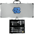 N. Carolina Tar Heels 8 pc Stainless Steel BBQ Set w/Metal Case