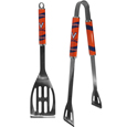Virginia Cavaliers 2 pc Steel BBQ Tool Set - This stainless steel 2 pc BBQ set is a tailgater's best friend. The colorful and large team graphics let's everyone know you are a fan! The set in includes a spatula and tongs with the Virginia Cavaliers proudly display on each tool.