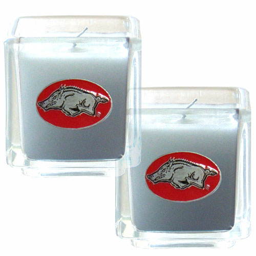 "College Candle Set (2) - Arkansas Razorbacks - College Candle Set includes two 2"" x 2"" vanilla scented candles featuring a metal square with a hand enameled Arkansas Razorbacks college emblem. Check out our extensive line of  collegiate merchandise! Thank you for shopping with CrazedOutSports.com"